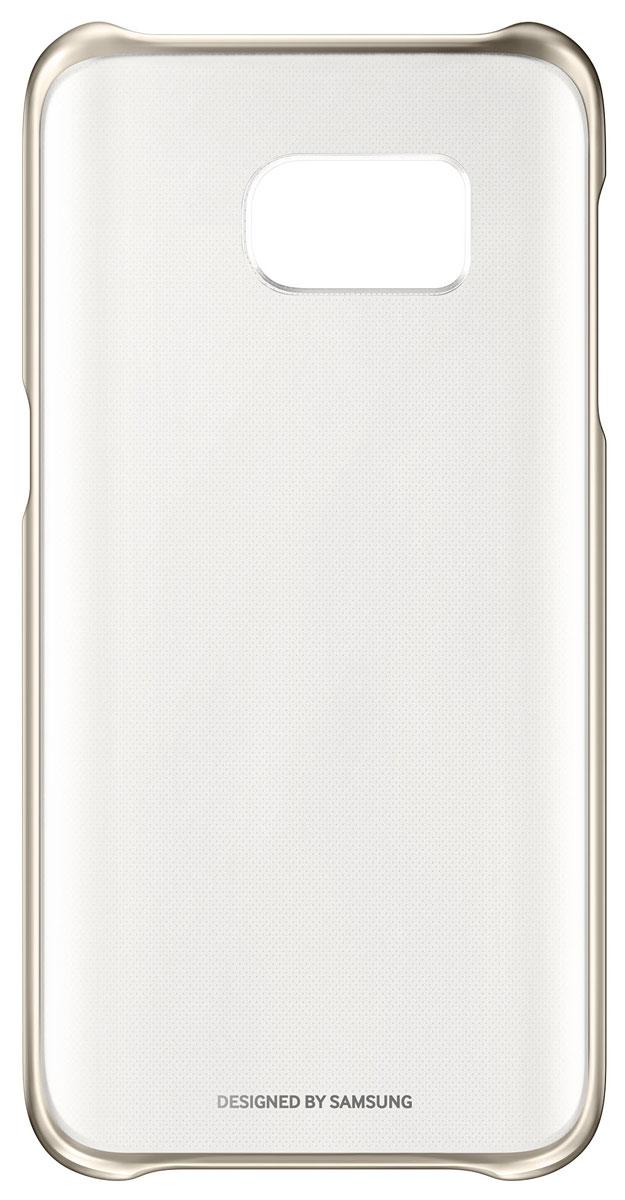 Samsung EF-QG930 Clear Cover чехол для Galaxy S7, GoldEF-QG930CFEGRUSamsung EF-QG930 Clear Cover - прозрачная накладка на заднюю крышку смартфона Samsung Galaxy S7. Тонкий чехол практически не увеличивает размеров смартфона, сохраняя его оригинальный внешний вид и защищая от пыли, грязи и повреждений.Уважаемые клиенты! Обращаем ваше внимание, что данный чехол имеет специальное защитное покрытие под транспортировочной плёнкой в виде тонкой дополнительной плёнки, являющееся неотъемлемой частью крышки и которое нанесено с помощью специального клея. Отделение данного слоя не предусмотрено производителем, и может привести к повреждению аксессуара.