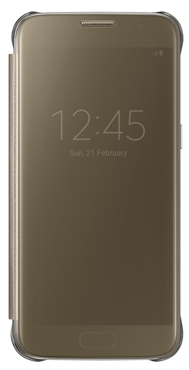 Samsung EF-ZG930 Clear View Cover чехол для Galaxy S7, Gold - Чехлы