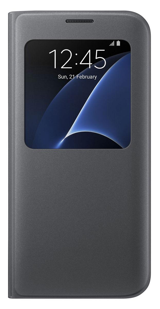 Samsung EF-CG935 S View Cover чехол для Galaxy S7 Edge, BlackEF-CG935PBEGRUSamsung EF-CG935 S View Cover - тонкий и стильный чехол с дополнительным окошком, изготовленный из высококачественных материалов, обеспечивает надежную защиту дисплея. Создан специально для Galaxy S7 Edge, практически не увеличивает габариты и сохраняет компактность смартфона. Благодаря ему вы можете следить за информацией на экране без лишних движений.