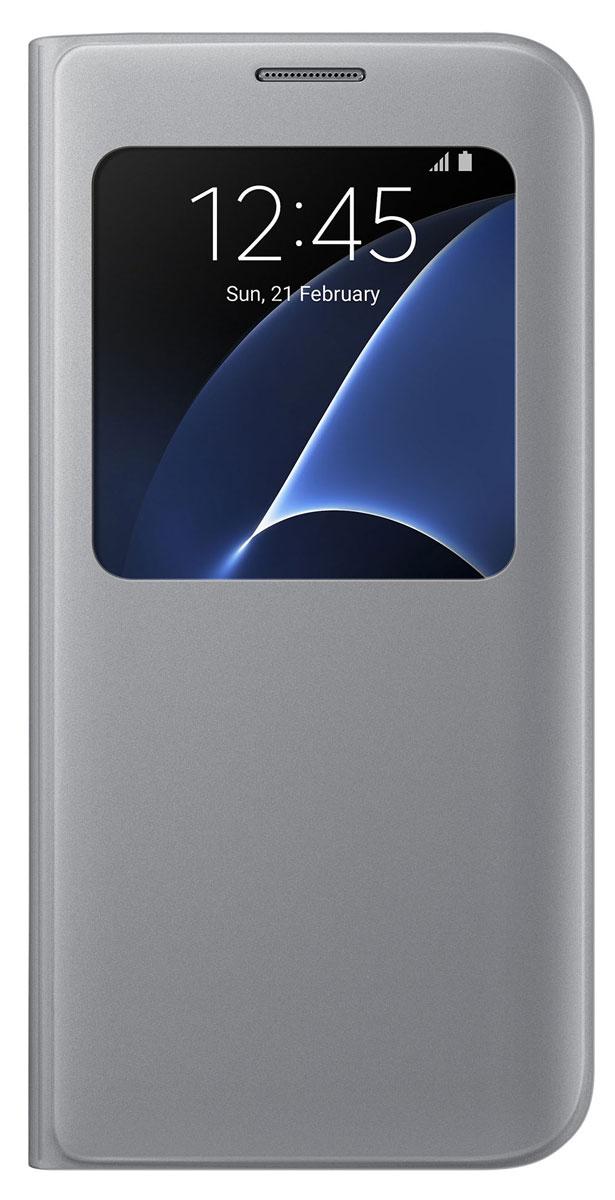 Samsung EF-CG935 S View Cover чехол для Galaxy S7 Edge, SilverEF-CG935PSEGRUSamsung EF-CG935 S View Cover - тонкий и стильный чехол с дополнительным окошком, изготовленный из высококачественных материалов, обеспечивает надежную защиту дисплея. Создан специально для Galaxy S7 Edge, практически не увеличивает габариты и сохраняет компактность смартфона. Благодаря ему вы можете следить за информацией на экране без лишних движений.
