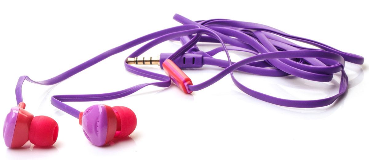 Harper Kids H-31, Purple наушникиH00000579Яркие и стильные наушники Harper Kids H-31 с отличным качеством звучания. Гарнитура имеет встроенный пульт и микрофон для быстрого переключения между музыкой и вызовами. Подключив её к своему смартфону или планшету вы сможете не только наслаждаться любимой музыкой, но и с легкостью ответить на звонок, не доставая гаджет. Гарнитура имеет плоский, эластичный и устойчивый к запутыванию кабель длиной 1,2 метра. В комплекте с наушниками идут мягкие силиконовые накладки 3-х размеров для максимального комфорта.