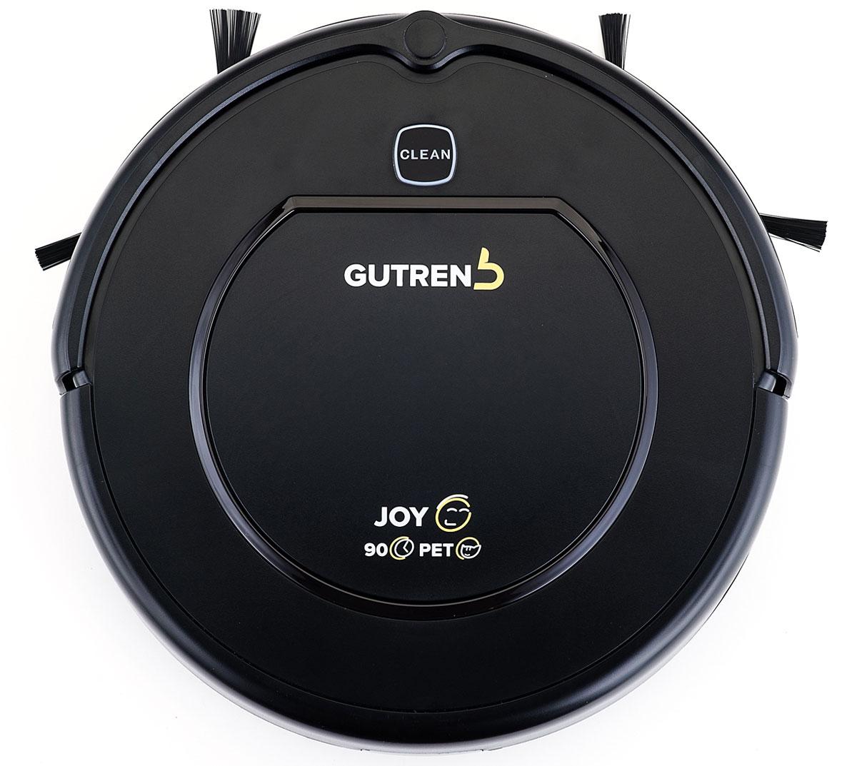 Gutrend Joy 90 робот-пылесосG90BРобот-пылесос Gutrend Joy 90 помогает устранять мусор, пыль, шерсть домашних животных и отлично убирает любые типы поверхностей: линолеум, паркет, ламинат, кафельную плитку и ковролин.Одна из ключевых особенностей данной модели – это максимальная простота в использовании. Вам не придется подолгу разбираться в настройках и принципах работы – все управление сводится к нажатию одной кнопки. Остальное робот сделает сам.Пылесос оснащен целым комплексом полезных функций:Обнаружение препятствий – 10 пар датчиков, расположенные на переднем бампере устройства, позволят обнаружить преграды на пути робота-пылесоса и избежать столкновения за несколько миллиметров до препятствия.Предотвращение падения с высоты – 3 пары датчиков, расположенные на переднейи боковых плоскостях дна робота-пылесоса, позволят обнаружить перепад высоты и предотвратить падение устройства.Уборка по расписанию – вы можете запланировать уборку робота-пылесоса на конкретное, удобное для вас время.Увеличение мощности всасывания – если вы хотите убрать область с большим скоплением мусора, направьте туда робот-пылесос и нажмите кнопку Спираль.Робот увеличит мощность всасывания и будет двигаться по спирали в заданном месте.Защита от запутывания – боковые щетки робота при попадании в какое-либо препятствие определяют натяжение и начинают вращение в обратную сторону.Оповещение об ошибках – робот-пылесос подает звуковой сигнал, оповещающий об ошибке.Аккумулятор высокой емкости позволяет роботу-пылесосу убирать помещение беспрерывно в течение 90 мин, площадью до 100 м2. Благодаря высокой мощности всасывания, а также конструкции щеток и всасывающего отверстия, данная модель особенно хорошо справляется с шерстью домашних питомцев и пылью.Данная модель имеет вместительный пылесборник (0.6 л), что позволяет очищать егоот мусора намного реже. Пылесборник предусматривает две ступени фильтрации: сетчатый фильтр для крупного мусора и HEPA-фильтр для удержания мельчайших частиц пыли. Он легко