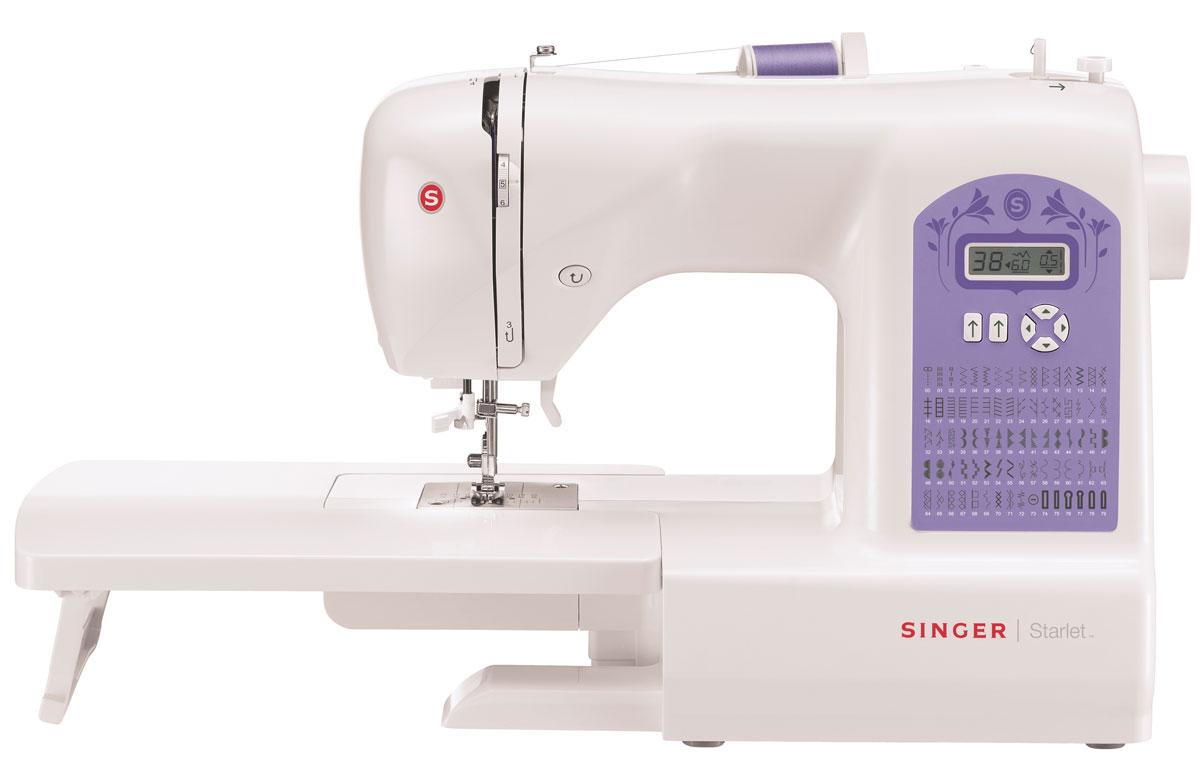 Singer Starlet 6680 швейная машина4996856111334Швейную машину Singer Starlet 6680 без сомнений можно назвать настоящей универсальной кудесницей. На ней вы сможете обработать практически любой материал абсолютно без проблем и сбоев. Высокая скорость при минимуме шума вам гарантирована - вертикальный челнок этой модели превосходно справляется со своей работой. Достаточно консервативный дизайн содержит в себе отличную функциональность и высокую надёжность.Современная швейная машина с электронным управлением обеспечивает широкий функционал. Вы избавляетесь от нудной регулировки точных параметров, уделяя время совершенствованию своего мастерства. Начните работу с нитевдевателя - уже на этом этапе вы почувствуете экономию времени. Далее вам нужно лишь выбрать одну из 79 операций, используя кнопки и удобный дисплей. Всё остальное машинка сделает сама. Она аккуратно исполняет потайные и эластичные швы и имеет функцию имитации оверлока. Автоматическая петля придётся очень кстати для пришивания пуговиц.