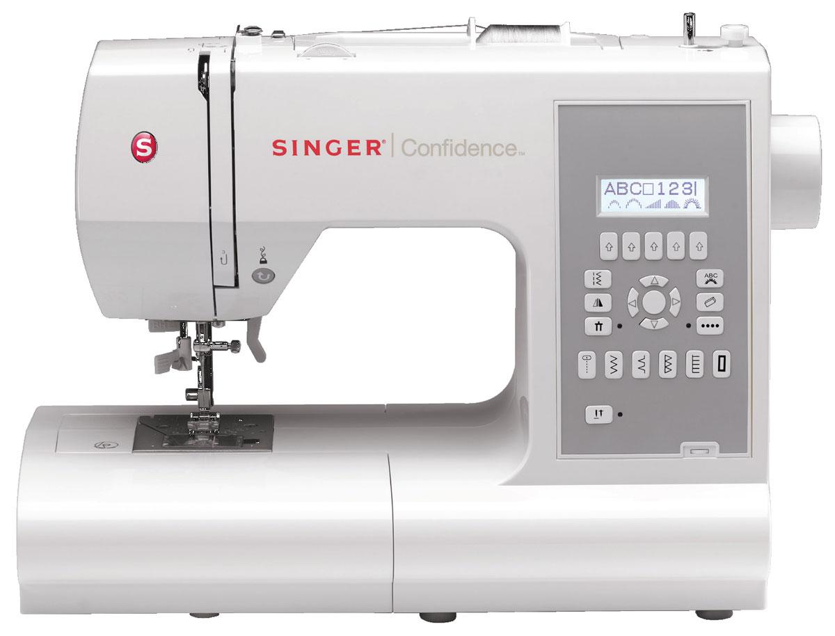 Singer Confidence 7470 швейная машина4996856110016Швейную машину Singer 7470 вполне можно назвать профессиональной. Она без труда поможет вам решить широкий спектр задач в области шитья. Благодаря электронному управлению вы можете быть абсолютно уверены в точности установленных настроек. Никаких неприятных сюрпризов во время работы не возникает. Вы просто растворяетесь в творчестве и получаете возможность создавать настоящие шедевры!В возможностях Singer 7470 можно просто заблудиться. Более 345 операций открывают бескрайнее поле для творческих экспериментов. Никакого лишнего времени не бесполезную рутину — автоматический нитевдеватель и микропроцессор сделают всё за вас. Вам останется лишь выбрать нужную функцию и работать на оптимально подобранных параметрах. Вам доступны различные варианты потайных, эластичных и прямых строчек. Края ваших изделий всегда будут красивыми и аккуратными благодаря оверлочной строчке. Плавная регулировка шитья даёт возможность без затруднений обрабатывать даже самые сложные места.