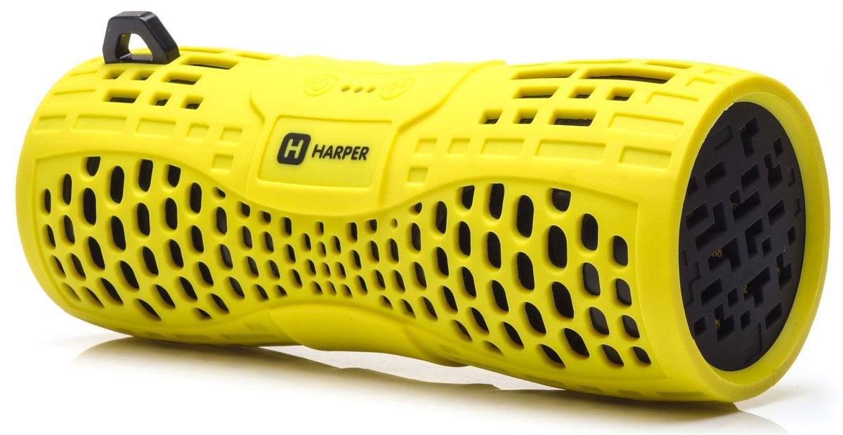 Harper PS-045, Yellow портативная акустическая системаH00001020Harper PS-045 - портативная акустическая система с влагозащищенным корпусом и встроенным микрофоном. Представленная модель поддерживает высокоскоростное беспроводное соединение посредством Bluetooth, что в свою очередь позволяет использовать любые аудиоустройства или прочие девайсы, поддерживающие данную функцию, для воспроизведения звуковых файлов на расстоянии до 10 метров. Данная модель также оснащена входом Micro USB, разъемом AUX, а также степенью защиты IPX6, благодаря чему способна превратиться в маленький музыкальный центр. Обладая компактными размерами колонка без труда поместится в кармане рюкзака или походной сумки.Аккумулятор: 1000 мАчВремя зарядки: 2,5 часа