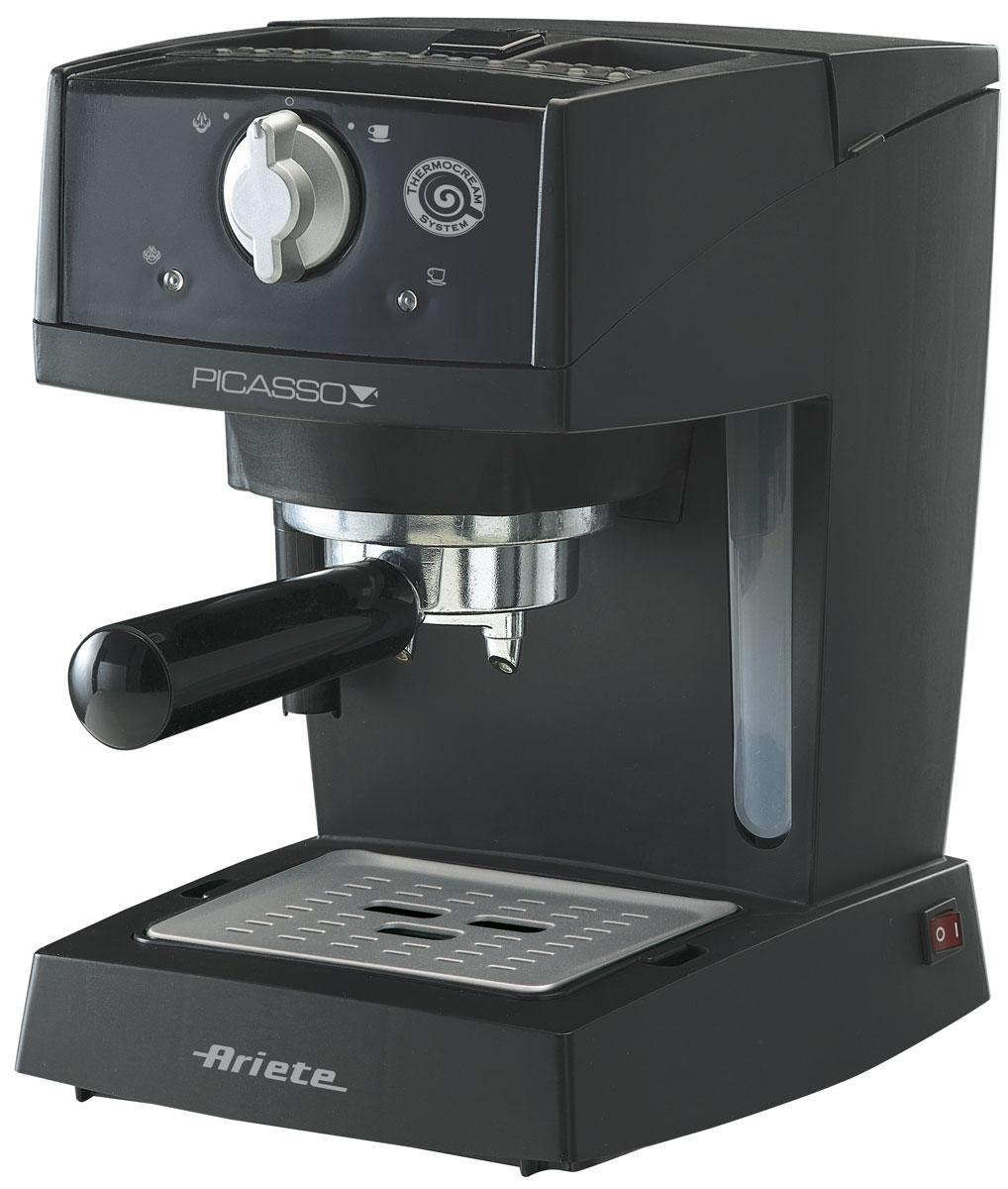 Ariete 1365 Picasso, Black кофеварка эспрессо1365Кофеварка Ariete 1365 Picasso – идеальный вариант для вашей кухни! Высокая мощность позволит быстро готовить свежий кофе. Вы без труда можете сварить одновременно до двух чашек кофе. Также имеется возможность приготовления капучино. Ручная регулировка порций горячей воды позволит вам наливать только столько, сколько нужно. Помимо этого имеется подогрев чашек и съемный лоток для сбора капель, что очень удобно.