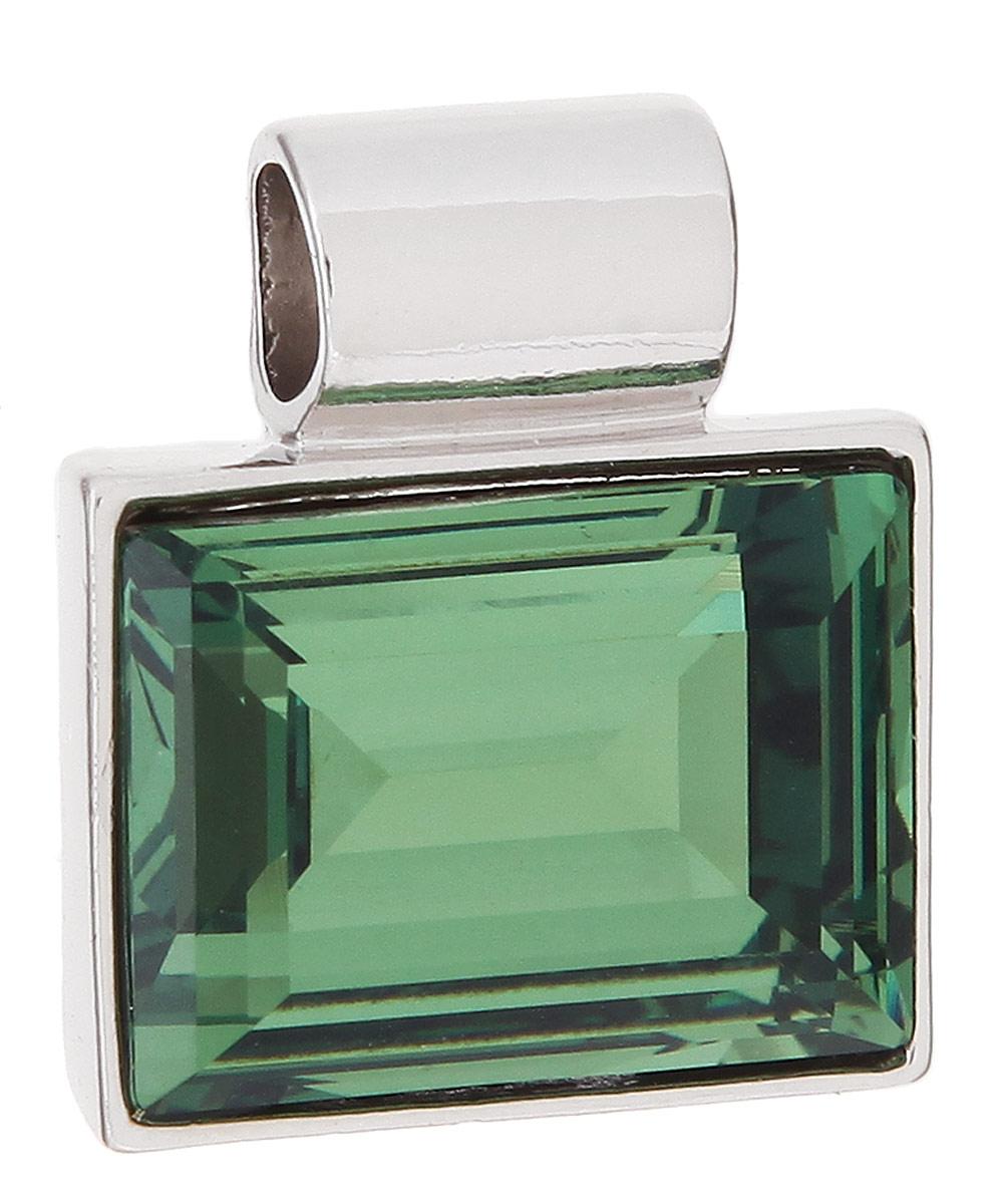 Подвеска Jenavi Тянада, цвет: серебряный, зеленый. k296f334АромакулонПодвеска Jenavi Тянада выполнена из гипоаллергенного ювелирного сплава, оформлена покрытием из серебра и родия. Подвеска прямоугольной формы дополнена граненым кристаллом Swarovski.Изделие имеет отверстие, которое позволит использовать шнур или цепочку любого диаметра.Подвеска Jenavi Тянада поможет дополнить любой образ и привнести в него завершающий яркий штрих.