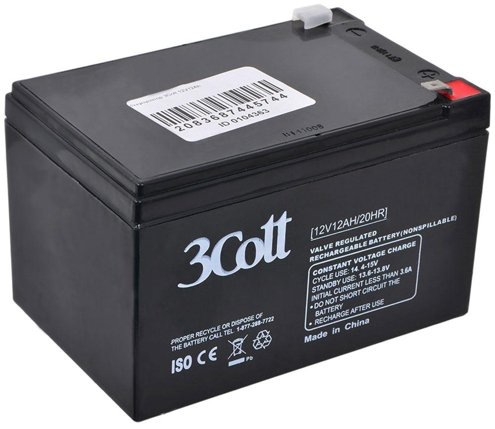 3Cott 12V12Ah аккумулятор для ИБП3Cott-12V12.0AH3Cott 12V12Ah - производительный аккумулятор для ИБП (источники бесперебойного питания), а также других устройств, где необходим источник тока.Технология изготовления аккумуляторов – AGM. Эта технология подразумевает, что электролит в батарее пропитан в поры стекловолоконного сепаратора.Свинцово-кислотные аккумуляторы разработаны и оптимизированы для источников и систем бесперебойного питания, и для работы в буферном режиме. Предусмотрена полностью герметичная конструкция, и клапан внутренней рекомбинации газов, что делает аккумуляторы нетоксичными, и безопасными для работы в офисах, дома и т д.Данные аккумуляторы сочетают в себе высокое качество, стабильные характеристики, одновременно с небольшой ценой, что обеспечивает надежную работу источников бесперебойного питания (UPS), или других устройств.