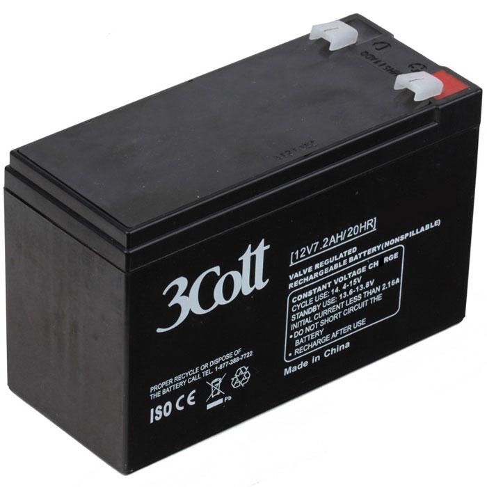 3Cott 12V7.2Ah аккумулятор для ИБП3Cott-12V7.2AHАккумулятор для ИБП 3Cott 12V7.2Ah отличается высокой надежностью, поэтому используется повсеместно: в источниках и системах как бесперебойного питания, так и систем охраны и пожарной безопасности и сигнализации, системы контролирующие доступ, IT и телекоммуникации.Аккумулятор изготовлен по передовой AGM технологии. Свинцово-кислотные серии батарей, в том числе и 3Cott 12V7.2Ah, позволяют непрерывно их использовать, без потребности в техническом обслуживании, сроком службы до 8 лет.Данная модель полностью герметична и жаропрочна. Загущенный непроливной электролит позволяет использование данных аккумуляторных батарей практически в любом положении.Аккумуляторы имеют предохранительный клапан, который выводит образованные внутри батареи, (в случае перезаряда) газы, за пределы корпуса, что предотвращает вздутие и выход АКБ из строя.Клеммы типа Т2Рекомендуемый максимальный ток зарядки: 3,6 АЦиклический режим: 14.4-15В