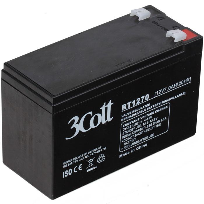 3Cott 12V7Ah аккумулятор для ИБП3Cott-12V7.0AHАккумулятор для ИБП 3Cott 12V7Ah отличается высокой надежностью, поэтому используется повсеместно: в источниках и системах как бесперебойного питания, так и систем охраны и пожарной безопасности и сигнализации, системы контролирующие доступ, IT и телекоммуникации.Аккумулятор изготовлен по передовой AGM технологии. Свинцово-кислотные серии батарей, в том числе и 3Cott 12V7Ah, позволяют непрерывно их использовать, без потребности в техническом обслуживании, сроком службы до 8 лет.Данная модель полностью герметична и жаропрочна. Загущенный непроливной электролит позволяет использование данных аккумуляторных батарей практически в любом положении.Аккумуляторы имеют предохранительный клапан, который выводит образованные внутри батареи, (в случае перезаряда) газы, за пределы корпуса, что предотвращает вздутие и выход АКБ из строя.Клеммы типа Т2Рекомендуемый максимальный ток зарядки: 3,6 АЦиклический режим: 14.4-15В