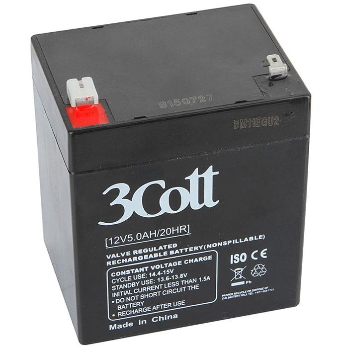 3Cott 12V5.0Ah аккумулятор для ИБП3Cott-12V5.0AHАккумулятор для ИБП 3Cott 12V5.0Ah отличается компактностью и высокой надежностью, поэтому используется повсеместно: в источниках и системах как бесперебойного питания, так и систем охраны и пожарной безопасности и сигнализации, системы контролирующие доступ, IT и телекоммуникации.Аккумулятор изготовлен по передовой AGM технологии. Свинцово-кислотные серии батарей, в том числе и 3Cott 12V5.0Ah, позволяют непрерывно их использовать, без потребности в техническом обслуживании, сроком службы до 8 лет.Данная модель полностью герметична и жаропрочна. Загущенный непроливной электролит позволяет использование данных аккумуляторных батарей практически в любом положении.Аккумуляторы имеют предохранительный клапан, который выводит образованные внутри батареи, (в случае перезаряда) газы, за пределы корпуса, что предотвращает вздутие и выход АКБ из строя.