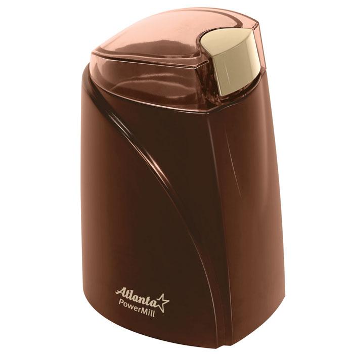 Atlanta ATH-278, Brown кофемолкаATH-278_brownМощная кофемолка Atlanta ATH-278 с острым ножом из нержавеющей стали способна быстро перемолоть кофейные зерна. Корпус из высококачественного пластика и плотно закрывающаяся крышка обеспечивают надежность конструкции. Кофемолка Atlanta ATH-278 идеально перемелет зерна для приготовления любимого вами бодрящего напитка.