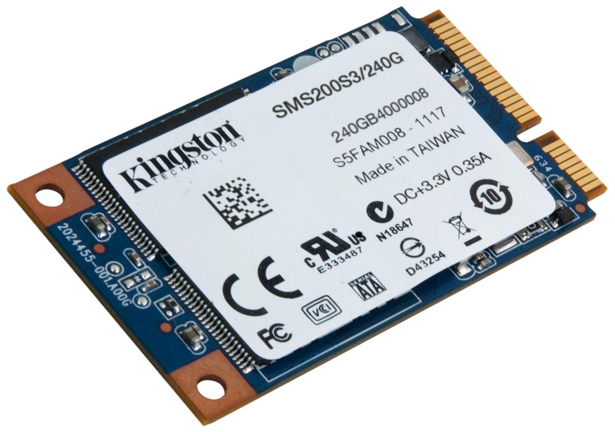 Kingston mS200 240Gb SSD-накопительSMS200S3/240GНакопители Kingston SSDNow mS200 mSATA обеспечивают эффективный по стоимости прирост производительности с возможностью установки двух накопителей, позволяя создавать хранилища данных большой емкости. Идеальный выбор для сборщиков систем, OEM-производителей и энтузиастов: компактный и надежный форм-фактор mS200 с хорошим охлаждением в 8 раз меньше накопителя 2,5 дюйма и прекрасно подходит для ноутбуков, планшетных компьютеров и ультрабуков.Твердотельный накопитель mS200 доступен в вариантах емкости до 480ГБ и представляет собой бескорпусную конструкцию из печатной платы без подвижных деталей; он имеет трехлетнюю гарантию, бесплатную техническую поддержку и отличается легендарной надежностью Kingston.Интерфейс mSATA - полная совместимость с отраслевым стандартом, простота установки, гарантия работыНа основе флеш-памяти NAND - ударостойкость и низкое энергопотреблениеПоддержка технологии SRT компании Intel - объединяет в себе преимущества емкости HDD с повышением производительности SSD в конфигурации с двумя накопителямиПоддержка S.M.A.R.T. - отслеживание состояние накопителяПоддержка технологии TRIM - обеспечивает максимум производительности в совместимых операционных системахМаксимальная скорость чтения/записи случайных блоков 4 Кб: до 72,000/до 40,000 IOPSРейтинг PCMARK Vantage HDD Suite: 60000Шифрование: AES, 128-битноеСредняя наработка до первого отказа (MTTF): 1 млн часов