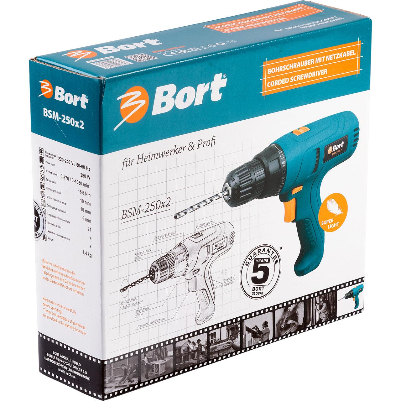 Дрель-шуруповерт электрическая Bort BSM-250x298296648Дрель-шуруповерт Bort BSM-250x2 - компактный инструмент с одной из лучших в своём классе эргономик. Малый вес, очень удобная ручка, специально разработанная конструкция с отличным балансом. Благодаря всем этим параметрам все работы выполняются не просто легко, но и с удовольствием: никакой утомляемости, удовольствие от полного контроля за дрелью. Компактный размер инструмента кроме того позволяет работать в ограниченном пространстве: это сборка и ремонт мебели, монтажные работы в стесненных условиях. Наличие регулировки ограничения крутящего момента и реверс превращают Bort BSM-250x2 в полноценный шуруповёрт. Двухскоростной редуктор расширяет области применения - от закручивания на низких оборотах, до сверления на высоких. А быстрозажимной патрон надежно фиксирует оснастку и не требует специального ключа для ее замены.Напряжение: 230 В. Мощность: 280 Вт. Регулировка крутящего момента: 21.Тип патрона: быстрозажимной патрон.