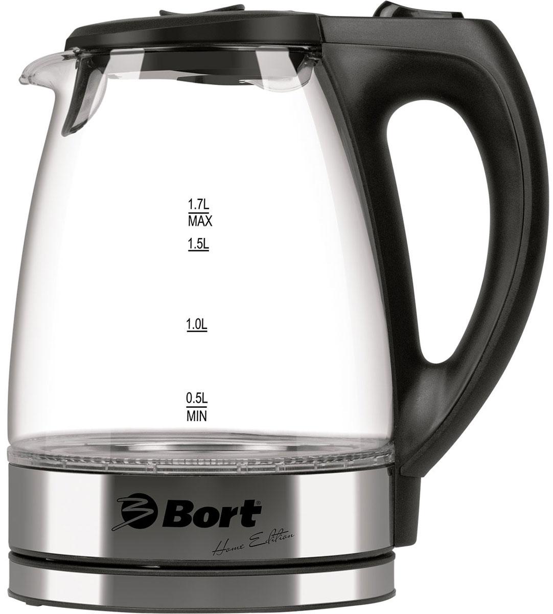 Bort BWK-2217G электрический чайник91276865Стеклянный чайник Bort BWK-2217G выгодно отличает не только интересный дизайн, который никого не оставит равнодушным, но и высокая мощность. Благодаря мощности 2200 Ватт закипание происходит гораздо быстрее , чем у других чайников. Корпус прибора выполнен из специального стекла, он идеально подходит для кипячения воды. Плоский нагреватель и сетчатый фильтр на крышке, облегчают процесс очистки. Подставка, поворачивающаяся на 360 градусов удобна в использовании.Длина кабеля: 0,5 м