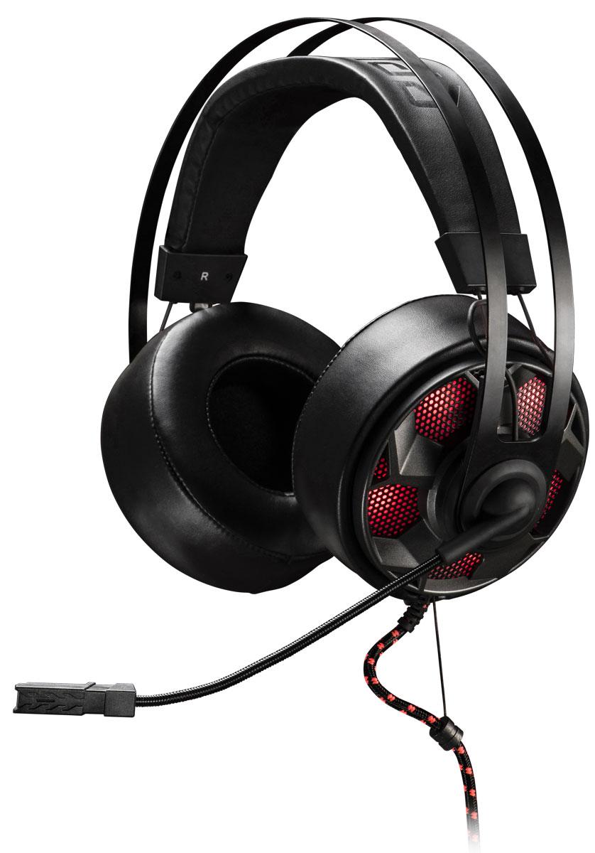EpicGear ThunderouZ игровая гарнитураEGATZ1-2AWA-AMSGEpicGear ThunderouZ - гарнитура с полноценными накладными наушниками. Амбушюры выполнены из специального высококачественного кожзаменителя. Гарнитура предлагает пользователю отличное качество звука, шумоизоляцию, плотное и в то же время, мягкое прилегание к уху. Благодаря использованию специальных материалов, наушники запоминают форму уха пользователя, обеспечивая максимальный комфорт при эксплуатации. В чашечках наушников расположены 50-миллиметровые динамики. Гарнитура впервые оснащена усилителем EG–Amplifier (EG-AMP). Усилитель делает звучание чистым и насыщенным.Аудиосигнал передается на гарнитуру через аналоговый разъем 3,5 мм стерео джек. А питание EG-AMP осуществляется от USB порта. Мультифункциональный контроллер позволяет управлять всеми важными функциями микрофона и наушников. Переключатель режимов EQ позволяет выбирать между режимами Музыкальный EG или Игровой EQ. Высокая четкость передачи голоса достигается за счет применения направленного микрофона.Тканевая Х–оплетка, разгрузка натяжения(SR) и дополнительное крепление, значительно повышают прочность кабеля и предотвращают его заламывание. Для дополнительной эстетики предусмотрено семь режимов подсветки ThunderouZ. Рабочие частоты микрофона: 100-10000 ГцПрочный кабель толщиной 4 мм с Х-образной оплеткой