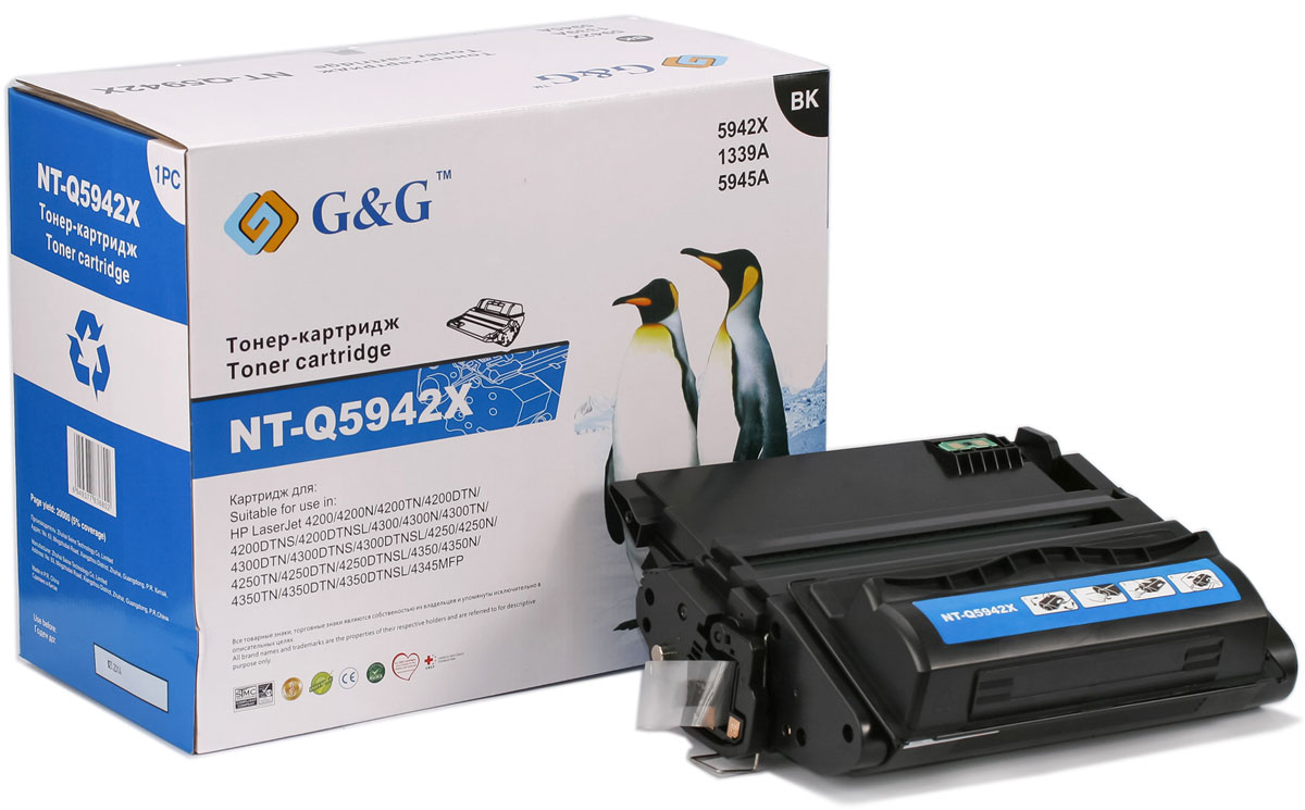 G&G NT-Q5942X тонер-картридж для HP LaserJet 4200/4250/4300/4350/4345NT-Q5942XТонер-картридж G&G NT-TK1140 для лазерных принтеров HP LaserJet 4200/4250/4300/4350/4345.Расходные материалы G&G для лазерной печати максимизируют характеристики принтера. Обеспечивают повышенную чёткость чёрного текста и плавность переходов оттенков серого цвета и полутонов, позволяют отображать мельчайшие детали изображения. Обеспечивают надежное качество печати.