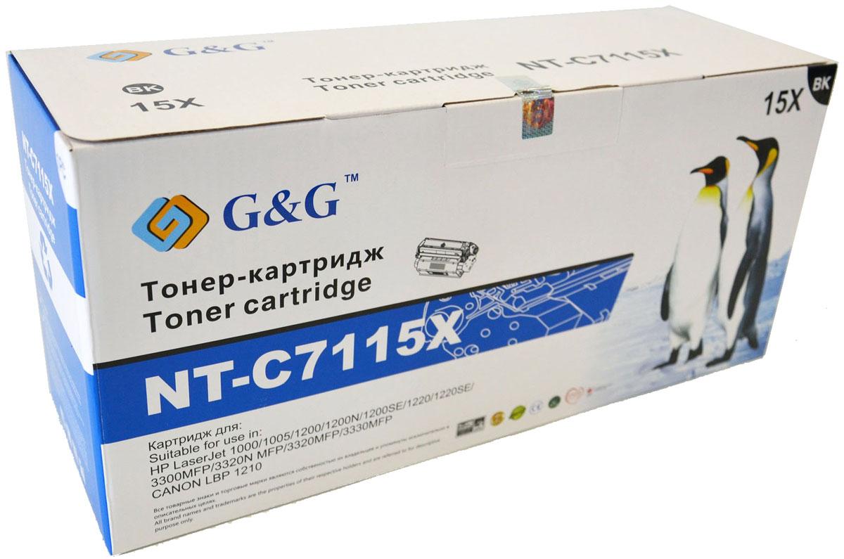 G&G NT-C7115X тонер-картридж для HP LaserJet 1000/1005/1200/3300/3320/3330/Canon LBP-1210NT-C7115XКартридж G&G NT-C7115X для лазерных принтеров HP LaserJet 1000/1005/1200/3300/3320/3330, Canon LBP-1210.Расходные материалы G&G для лазерной печати максимизируют характеристики принтера. Обеспечивают повышенную чёткость чёрного текста и плавность переходов оттенков серого цвета и полутонов, позволяют отображать мельчайшие детали изображения. Обеспечивают надежное качество печати.