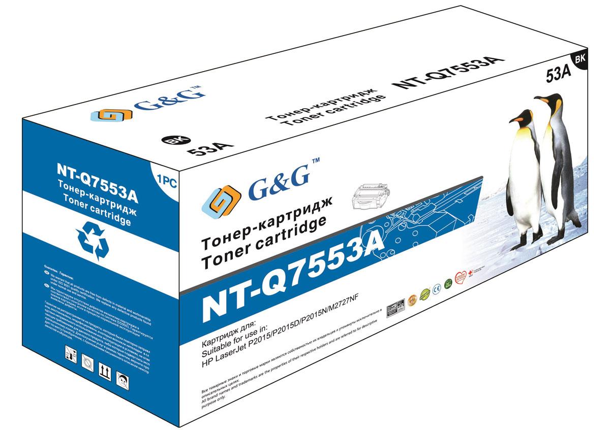 G&G NT-Q7553A тонер-картридж для HP LaserJet P2015/M2727NT-Q7553AТонер-картридж G&G NT-Q7553A для лазерных принтеров HP LaserJet P2015/M2727.Расходные материалы G&G для лазерной печати максимизируют характеристики принтера. Обеспечивают повышенную чёткость чёрного текста и плавность переходов оттенков серого цвета и полутонов, позволяют отображать мельчайшие детали изображения. Обеспечивают надежное качество печати.