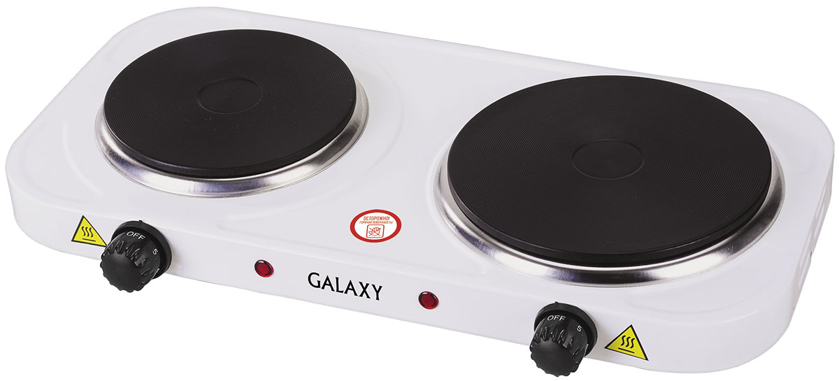 Galaxy GL 3002 плитка электрическая4630003364111Надежная электроплита Galaxy GL 3002 с двумя конфорками диаметром 18,5 см и 15 см. Идеальна для дома и дачи в любое время года. Компактный корпус, покрытый эмалью, позволяет легко мыть и ухаживать за прибором. Имеет регулятор нагрева и индикацию включения. Данная модель обладает суммарной мощностью 2500 Вт, что позволяет за несколько минут разогреть обед или вскипятить чайник с водой.Длина шнура питания: 0,8 м