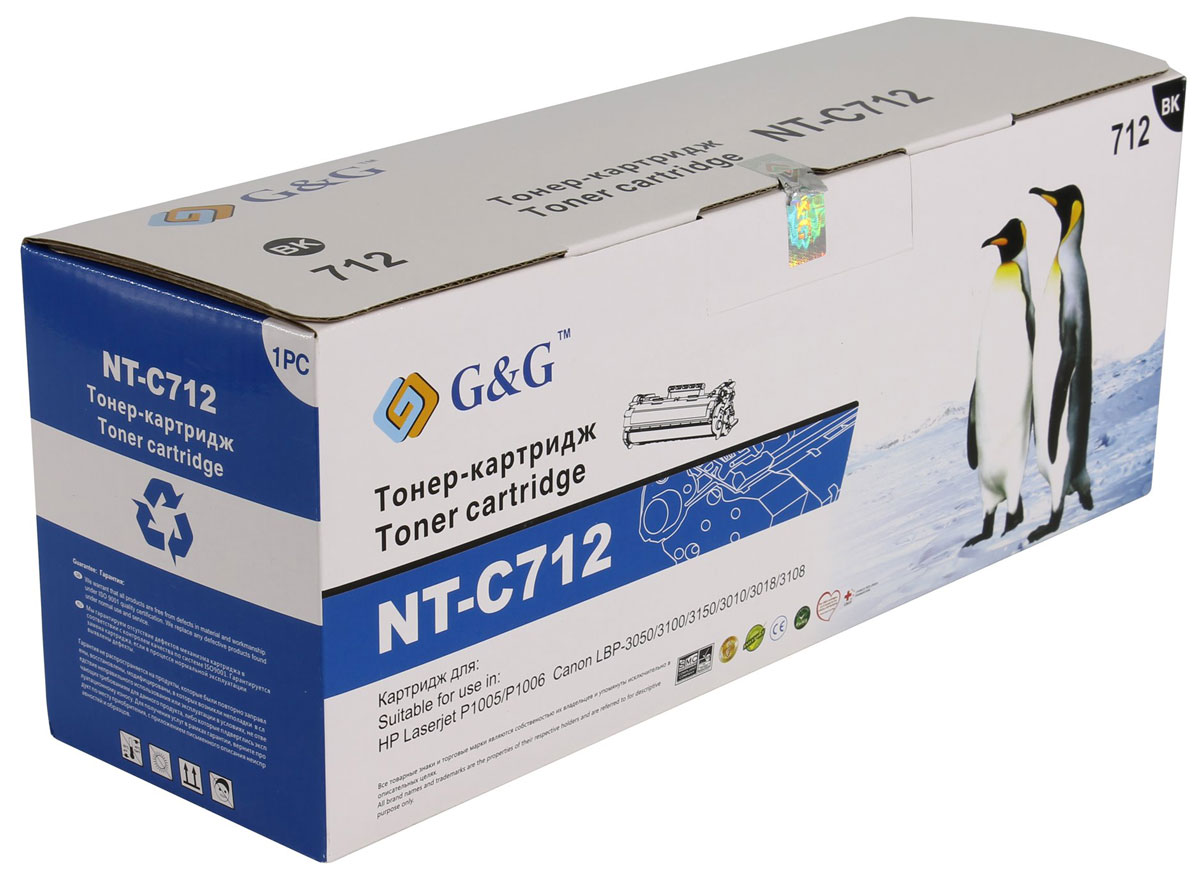 G&G NT-C712 тонер-картридж для HP Laserjet P1005/P1006/Canon LBP-3050/3100/3150/3010/3018NT-C712Картридж G&G NT-C712 для лазерных принтеров HP LaserJet P1005/P1006, Canon LBP-3050/3100/3150/3010/3018.Расходные материалы G&G для лазерной печати максимизируют характеристики принтера. Обеспечивают повышенную чёткость чёрного текста и плавность переходов оттенков серого цвета и полутонов, позволяют отображать мельчайшие детали изображения. Обеспечивают надежное качество печати.