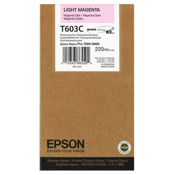 Epson T603C (C13T603C00), Light Magenta картридж для Stylus PRO 7800/9800C13T603C00Картридж Epson T603C для струйных принтеров Epson Stylus PRO 7800/9800.Расходные материалы Epson для печати максимизируют характеристики принтера. Обеспечивают повышенную четкость изображения и плавность переходов оттенков и полутонов, позволяют отображать мельчайшие детали изображения. Обеспечивают надежное качество печати.