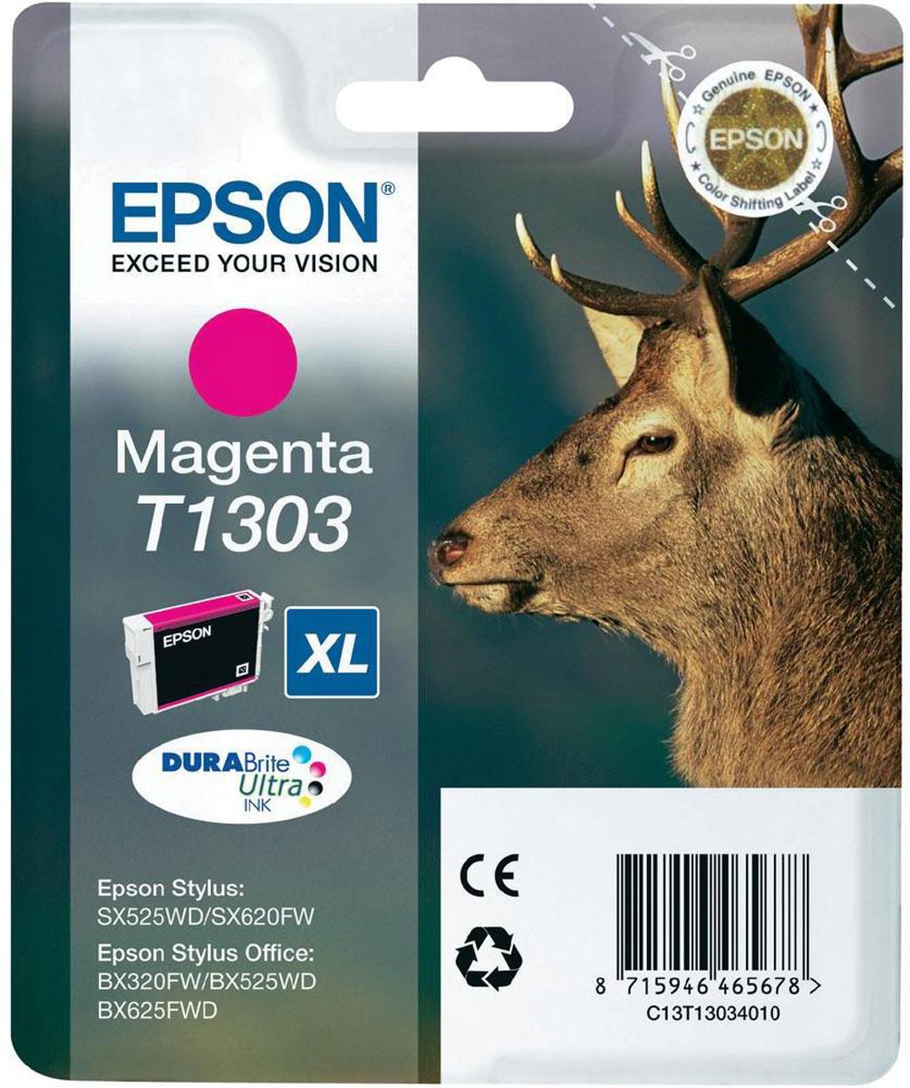 Epson T1303 (C13T13034010), Magenta картридж для Stylus SX525WD/B42WD/BX320FW/BX625WFDC13T13034010Картридж Epson T1304 для струйных принтеров Epson Stylus SX525WD/B42WD/BX320FW/BX625WFD.Расходные материалы Epson для печати максимизируют характеристики принтера. Обеспечивают повышенную четкость изображения и плавность переходов оттенков и полутонов, позволяют отображать мельчайшие детали изображения. Обеспечивают надежное качество печати.