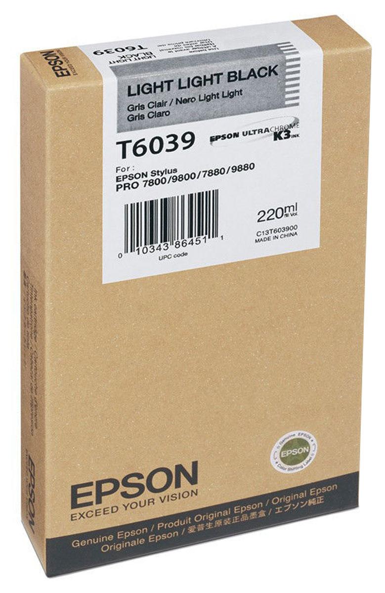 Epson T6039 (C13T603900), Light Light Black картридж для Stylus PRO 7800/7880/9800/9880C13T603900Картридж Epson T6039 для струйных принтеров Epson Stylus PRO 7800/7880/9800/9880.Расходные материалы Epson для печати максимизируют характеристики принтера. Обеспечивают повышенную четкость изображения и плавность переходов оттенков и полутонов, позволяют отображать мельчайшие детали изображения. Обеспечивают надежное качество печати.