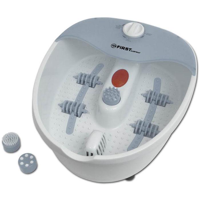 First FA-8114-1 массажная ванночка для ногFA-8114-1 White/greyМассажная ванночка для ног First FA-8114-1 поможет вам расслабиться после тяжелого трудового дня с помощью массажа. На выбор представлено несколько видов массажа: пузырьковый, инфракрасный, роликовый, вибромассаж, а также массирование с помощью насадок. Прибор имеет функцию поддержания температуры, прорезиненные ножки для максимальной устойчивости, а также удобное отверстие для слива воды.