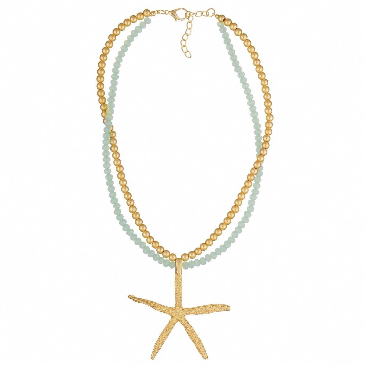 Ожерелье Модные истории, цвет: золотистый, мятный. 12/0969Ожерелье (короткие многоярусные бусы)Оригинальное ожерелье Модные истории выполнено в виде двух рядов бус. Ожерелье дополнено подвеской из металла в виде морской звезды. Изделие застегивается на замок-карабин с регулирующей длину цепочкой. Ожерелье модного дизайна поможет создать уникальный и запоминающийся образ, а также подчеркнет вашу индивидуальность.
