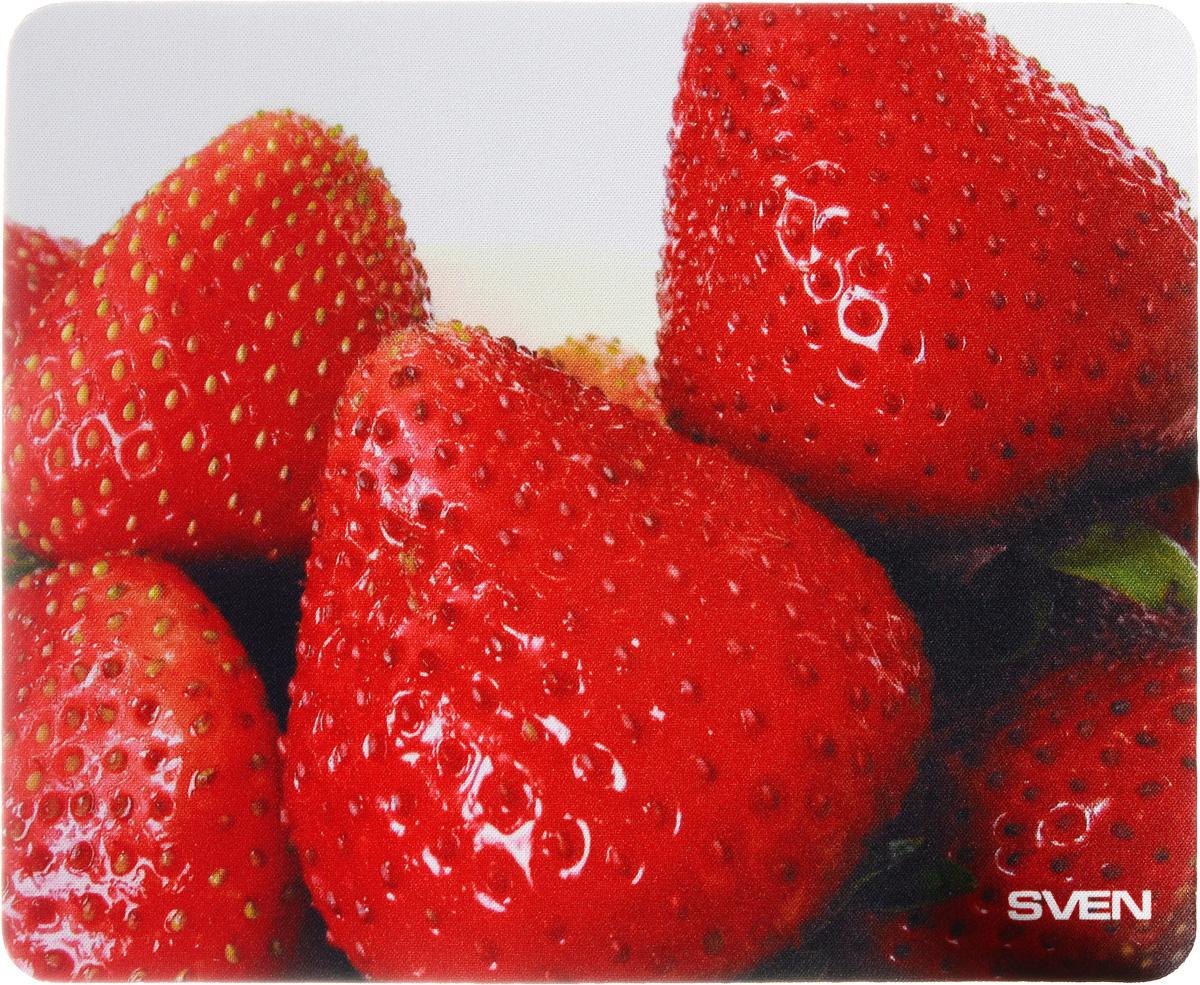Sven SA, Red коврик для мышиSA-011147_клубникаКоврик для мыши Sven SA изготовлен из 100% полиэстера и каучука -высокотехнологичных экологических материалов. Подходит как для оптической, так и для лазерной мыши. Гладкая поверхность со специальной текстурой повышает точность позиционирования мышки. Специальное нескользящее основание надежно фиксирует коврик на столе. Коврик выпускается с большим количеством различных изображений.