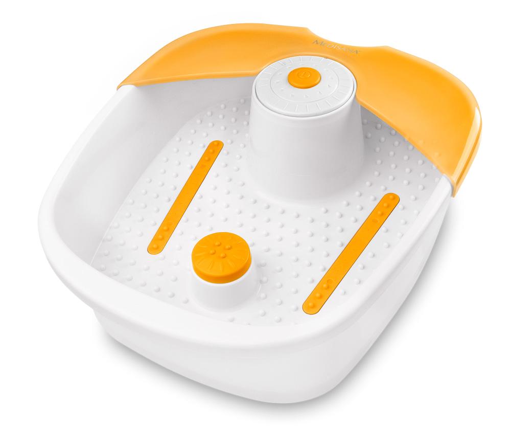 Гидромассажная ванна Medisana FS 88128032022При помощи пузырьковой ванны для ног MEDISANA Вы можете понежить свои ногипосле напряженного дня и расслабить их. Вы можете принимать ванны для ног смассажем в течение 10-15 минут один или два раза в день. Однако, Вам следует приэтом следить за тем, чтобы прибор полностью охладился после его эксплуатации,прежде чем Вы снова начнете процедуры! Гидромассажная ванночка для ног FS 881MEDISANA пригодна для использования с водой. Вы можете наполнить устройствотеплой или холодной водой. Функция подогрева не рассчитана на то, чтобы разогреватьнаполняемую воду, а служит лишь для того, чтобы предотвратить ее быстроеохлаждение Технические характеристикиНаименование и модельЭлектропитаниеНоминальная мощностьМощность водяных завихренийМощность вибрацииУсловия храненияГабаритные размеры(длина) х (ширина) х (высота)ВесАртикулНомер EANMEDISANA Гидромассажная ванночка для ног FS 881220-240 Вольт / 50 Гц60 Ватт> 4 л/мин.3 000 об./мин.устройство должно быть чистым и сухим.Не наматывайте сетевой кабель на устройство.примерно 33,5 x 14,5 x 38 смпримерно 1,7 кг8838040 15588 88380