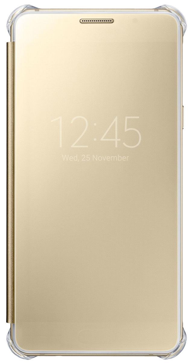 Samsung EF-ZA510 Clear View чехол для Galaxy A5 (2016), GoldEF-ZA510CFEGRUЧехол Samsung ClearView для Galaxy A5 (SM-A510F) идеально сочетается со стильным глянцевым корпусом смартфона. Он обеспечивает доступ к необходимой информации на экране гаджета. Вы можете принимать или отклонять звонки, смотреть время и дату и получать различные сообщения, даже когда чехол закрыт. Флип откидывается влево. Samsung ClearView обеспечивает надежную и долговременную защиту вашего Galaxy A5 (SM-A510F) от царапин, ударов и грязи.