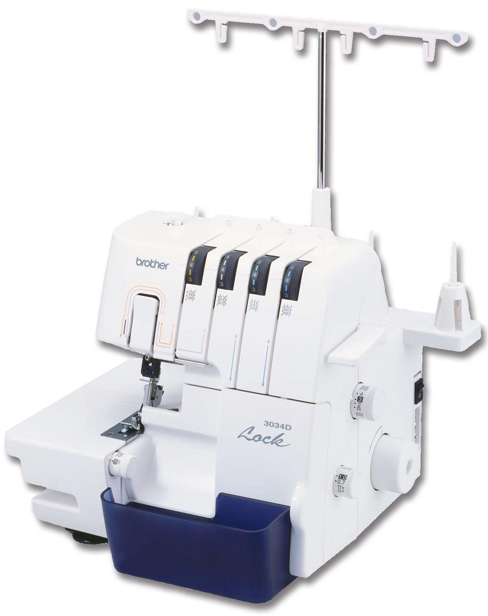 Brother 3034D оверлок3034DМашина-оверлок Brother 3034D предназначена для одновременного обметывания и обрезки срезов.Данная модель выполняет 3-х или 4-ниточные краеобметочные строчки с одновременной обрезкой края и оборудована нитенаправителями для простой заправки нити и системой быстрой заправки нижнего петлителя F.A.S.T. Она также имеет универсальную платформу, которую можно преобразовать в цилиндрическую при обработке манжет и рукавов, что экономит время и обеспечивает профессиональное качество результатов.Устройство легко настраивается и удобно в использовании. Brother 3034D можно рекомендовать для домашнего использования или работы в небольшом ателье. Уменьшенная масса устройства связана с тем, что внутри его содержится не металлический моноблок, а рама с прикрепленными к ней механизмами. В модели также предусмотрен отсек для аксессуаров.
