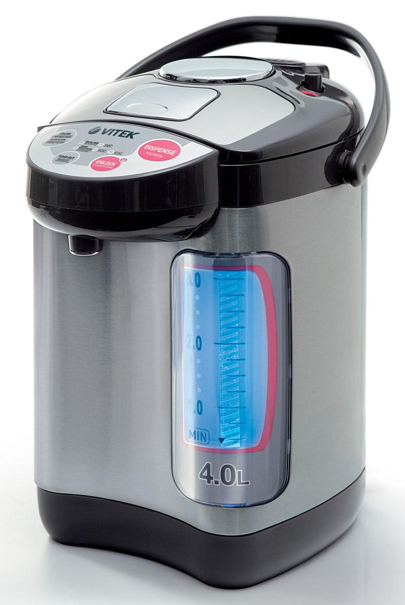 Vitek VT-1188, Grey1188-VT-01Термопот Vitek 1188 представляет собой гибрид электрического чайника и термоса с одноименными функциями. К тому же, с его помощью можно поддерживать воду в горячем состоянии на протяжении длительного периода времени. Расположенный на корпусе терморегулятор позволяет менять тип нагрева воды.Максимальный объем составляет 4 литра, что для средней потребительской семьи вполне хватает. Управление электронное, оно очень удобно при использовании устройства. Индикатор покажет, какое количество воды находится в приборе. Термопот Vitek 1188 имеет функцию повторного кипячения. Нагревательный элемент в виде спирали, которая надежно закрыта, что облегчает чистку. Мощность средняя - 750 Ватт позволит значительно сэкономить электроэнергию. Подача воды возможно ручным методом либо автоматически.