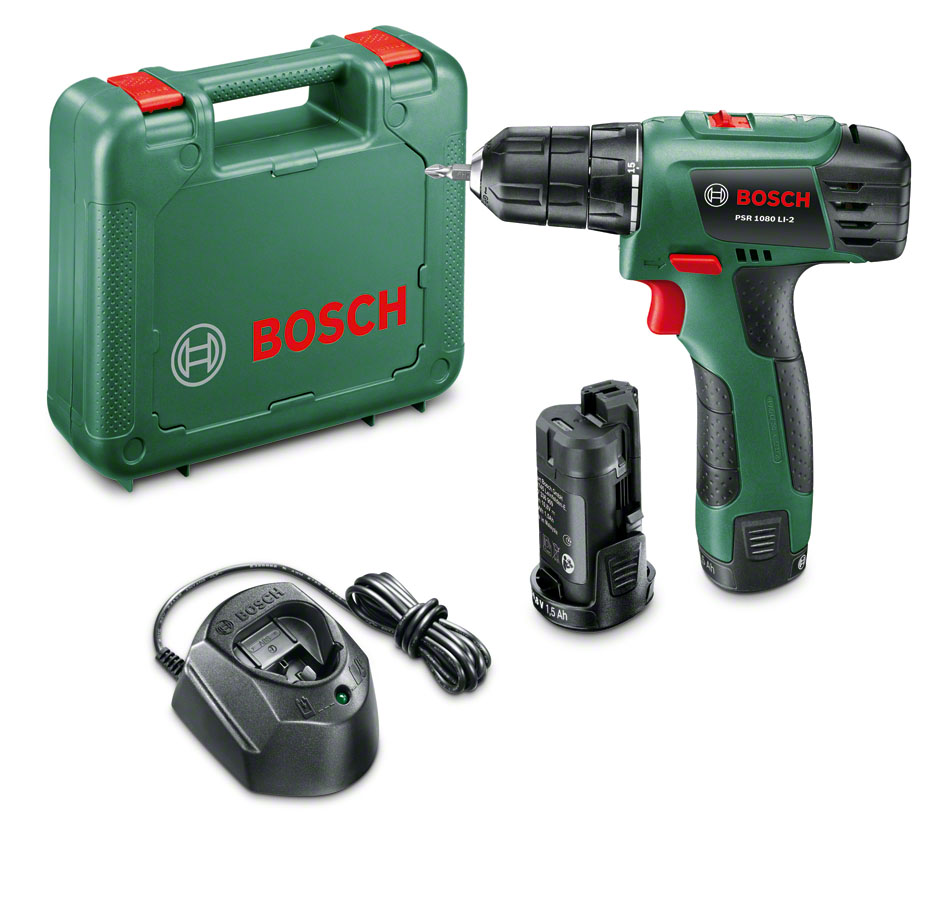 Аккумуляторная дрель-шуруповерт Bosch PSR 1080 Li-2 06039A210106039A2101Аккумуляторный шуруповерт PSR 1080 Li-2 - качество Bosch при выгодной цене!Длительный срок службы батареи: тип аккумулятора – LI IonCистема защиты аккумулятора от перегрузки, перегрева и глубокого разрядаШирокие возможности: расширенное применение благодаря двум скоростямКонтроль скорости вращения за счет кнопки с длинным ходомЭргономичный дизайн рукояткиОсвещение темных участков благодаря встроенному LED-светодиодуОптимальная настройка крутящего момента для высокоточного заворачивания шурупов с числом ступеней крутящего момента 15+1Инструмент может быть использован с любыми аккумуляторами 10,8 В от Bosch, аккумулятор может быть применен для любого электроинструмента с напряжением 10,8 В от BoschКомплектация:- 3-часовое зарядное устройство- Двойная бита- Пластмассовый кейс- Аккумуляторный блок (1,5 А*ч), 2 шт. Технические характеристики:- Тип аккумулятора: Li-On- Количество скоростей: 2- Диаметр шурупов: 6 мм- Диаметр сверления в стали: 6 мм- Диаметр сверления в древесине: 20 мм- Число оборотов на холостом ходу (1-ая/2-ая скорость): 0-430/1600 об/мин- Максимальный крутящий момент при заворачивании шурупов в мягкий/твердый материал: 11/20 Нм - Напряжение аккумулятора: 10,8 В- Емкость аккумулятора: 1.5 А/ч - Вес: 1 кг