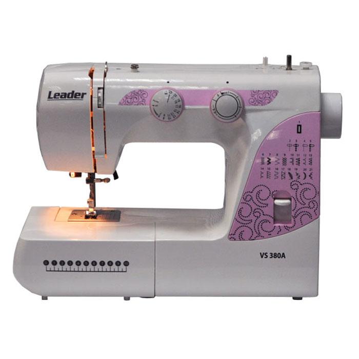 Leader VS380A швейная машинаVS380ALeader VS380A - отличный выбор для тех, кому необходима надежная и функциональная швейная машина для домашнего использования.Данная модель выполняет 21 швейную операцию, обрабатывает края и обметывает петли автоматически. Она также оснащена классическим челноком, кнопкой реверса, рукавной платформой и отсеком для аксессуаров.Оверлочные строчки, трикотажные строчки, декоративные строчки, плавная регулировка ширины зигзага и регулировка длины стежка позволят вам выполнить любой ремонт одежды либо сшить свой наряд. Швейная машина позволит вам работать, как с тонким шёлком, так и с грубой джинсовой тканью.