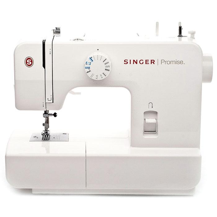 Singer Promise 1408 швейная машинаPromise1408Недорогая компактная швейная машина Singer Promise 1408 умеет делать все основные швейные операции и отлично подойдет для обучения шитью, ремонта одежды, шитья несложных вещей и других подобных работ.В данной модели есть восемь функций. Ширину и длину стежка, можно регулировать самостоятельно. Управление этими операциями производится переключателями, расположенными на корпусе машины. Также большим преимуществом является наличие оверлока, что позволит обметать края у законченного изделия. Помимо этого есть строчка тайного подшива, а также реверсная и эластичная строчки.Singer Promise 1408 относится к приборам электромеханического типа. Электромеханические машины снабжены электрический мотором, который приводит в движение маховое колесо. Скорость шитья зависит от силы нажатия на ножную педаль. Эта швейная машина также снабжена традиционным качающемся челноком.