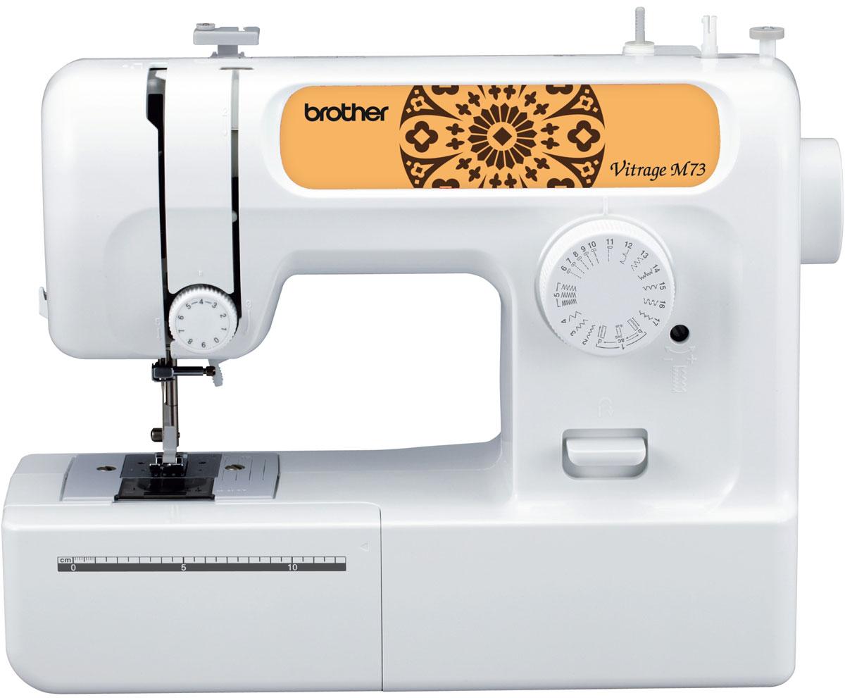 Brother Vitrage M73 швейная машинаVitrageM73Машина Vitrage M73 идеально подходит для выполнения основных швейных операций при изготовлении и ремонте одежды. Эта надежная машина имеет традиционный набор функций, который необходим для шитья.