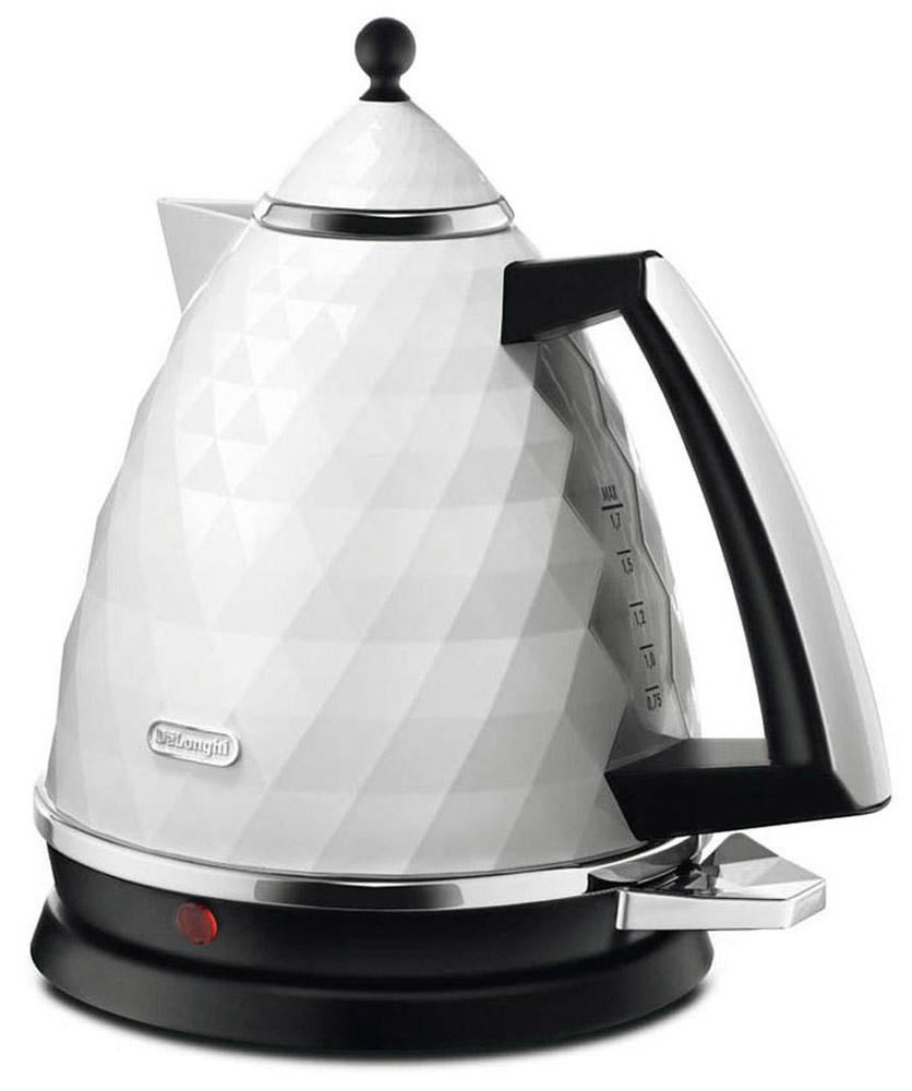 DeLonghi Brillante KBJ 2001 W, White электрочайникKBJ 2001 WЧайник оборудован удобным индикатором уровня воды. Визуально вы можете определить количество жидкости в чайнике. Прибор имеет нагревательный элемент скрытого типа, который изготовлен из нержавеющей стали. Эта особенность позволяет быстро нагревать воду, а так же избежать чрезмерного образования накипи. Закрытый нагревательный элемент прослужит гораздо дольше, нежели открытый Чайник DeLonghi KBJ 2001 W оборудован съемным фильтром от накипи. В случае необходимости вы можете изъять его и промыть под краном. Фильтр очищает воду от частиц образовавшейся накипи, не позволяя им попасть в чашку с напитком Прибор имеет поворотное основание, на котором он может вращаться на 360 градусов. Благодаря трехуровневой системе безопасности срок службы чайника значительно увеличивается. Чайник не включится без воды, автоматически отключится после закипания, а так же при подъеме прибора с подставки или в случае перегрева. Ценой высокой мощности 2000 Вт достигается быстрая работа прибора