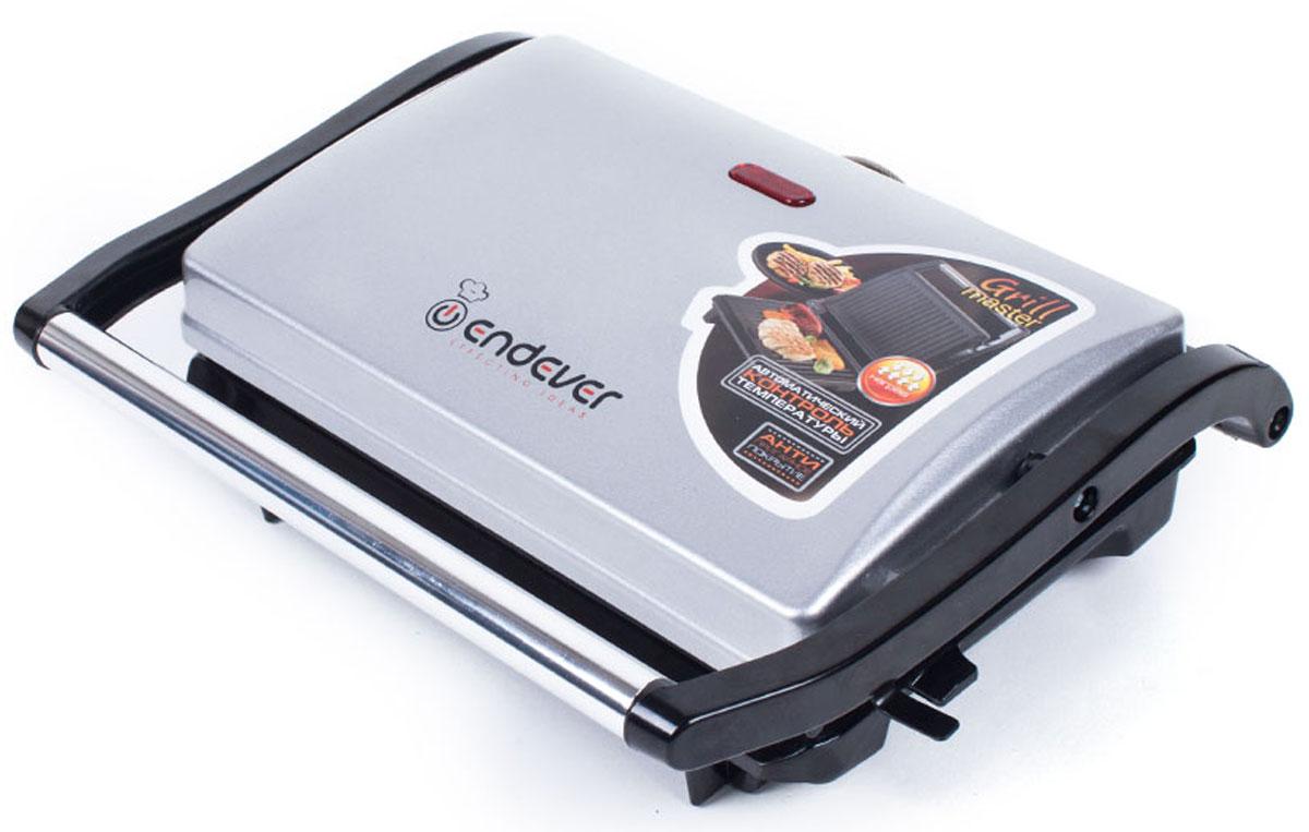 Endever 115 Grillmaster электрогрильGrillmaster 115Благодаря компактным и элегантным размерам электрогриль Endever 115 Grillmaster является ценным помощником на кухне. При приготовлении пищи в гриле можно использовать минимальное количество масла, что позволяет готовить менее жирную и диетическую пищу. Модель очень проста и удобна в использовании. Прибор выполнен из качественных и прочных материалов, что значительно продлевает срок службы.Ненагревающаяся эргономичная ручка Автоматический контроль температурыАнтипригарное покрытие поверхностей