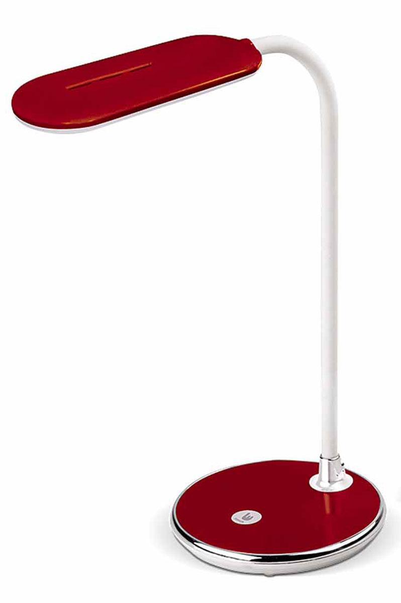 Настольная лампа Лючия Pyxis, цвет: красный, 5 WЛЮЧИЯ L500 краснаяСветодиодная настольная лампа, красная, сенсорный выключатель, 3 уровня яркости. Лампа имеет современный внешний вид и яркую красную расцветку. Подойдет для домашнего и офисного использования. Гибкая штанга позволит наклонить плафон в любом удобном направлении для выполнения работ за столом. Предусмотрен внешний адаптер, от которого идет провод и вставляется в светильник.Размеры: 110 х 110 х 290 мм.Мощность: 5 Вт.Цветовая температура: 4000 К.Дискретное изменение яркости свечения.