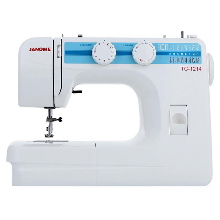 Janome TC 1214 швейная машинаTC1214Janome TC 1214 - швейная машина для шитья и ремонта одежды. Она оборудована надежным вертикальным качающимся челноком, применяемым в бытовых швейных машинах уже многие десятилетия. Модель позволяет выметывать прямые бельевые петли за 4 шага без поворота ткани - после выполнения каждой стороны петли нужно переключить программу на следующую сторону.Швейная машина отлично подойдет для шитья с применением различных тканей: ситца, крепа, плащевой, бязи, тика, шелка, шифона, фланели, хлопчатобумажных тканей, а также полиэстера. Удобная и практичная техника выполняет полуавтоматическую петлю, способна шить: потайную строчку, прямую, оверлочную, выполнять подшивку низа, прямую строчку, имеющую смещение влево, зигзаг. Кроме того, в машинке предусмотрена возможность шитья двойной иглой.Среди строчек, которые доступны в данной модели, имеется зигзаг с разной плотностью стежков, эластичная, оверлочная, потайная подгибка, стрейчевая для трикотажа, а также несколько декоративных строчек (фестон, соты). Кроме того, машинка выполняет усиленную (тройную) прямую строчку, по виду напоминающую цепочку. Она также укомплектована тремя лапками: для втачивания молнии, выметывания петли и потайной подгибки. Установить желаемую строчку можно с помощью поворота колеса, расположенного на корпусе машинки.Благодаря опции отключения нижнего транспортера ткани можно штопать или вышивать в свободной технике. Кнопка реверса обеспечивает легкое управление с громоздкими вещами и позволяет делать закрепки коротким двойным нажатием.Конструкция швейной машинки позволяет снять часть столика, образуя удобную рукавную платформу, на которой комфортно обрабатывать манжеты, штанины и другие трубчатые детали одежды. В пенале под крышкой столика предусмотрен удобный отсек для хранений дополнительных принадлежностей.Благодаря встроенной подсветке рабочей области можно комфортно работать даже в условиях слабой освещенности.