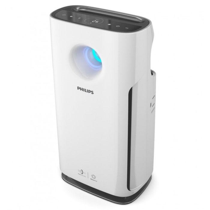 Philips AC3256/10, White очиститель воздухаAC3256/10Очиститель воздуха Philips с технологией VitaShield IPS, включающей профессиональную систему фильтрации и индикатор качества воздуха в режиме реального времени AeraSense. Подходит для использования в любой комнате площадью до 95 м2. Запатентованная технология определения уровня загрязненности воздуха AeraSense: • Более высокая чувствительность сенсоров к загрязняителям• В 8 раз более точные показания уровня загрязненности воздуха по сравнению с другими непрофессиональными датчиками• Отражение конценрации загрязняющих веществ (мг/м3) в воздухе в числовом формате в режиме реального времениПрофессиональная 3-уровневая система фильтрации NanoProtect S3: Улавливает 99.97% бактерий, пыль и другие аллергены Система включает в себя следующие фильтры: 1. Фильтр предварительной очистки: улавливает крупные загрязняющие частицы, такие как волосы, шерсть животных, пух, пыль. 2. Угольный фильтр: нейтрализует неприятные запахи и вредные газы, такие как формальдегид3. Утолщенный HEPA-фильтр: улавливает мельчайшие загрязняющие частицы 6 режимов очистки воздуха: включая турбо режим и режим Аллергены. Турбо режим - это режим повышенной мощности, который может использоваться для быстрой очистки воздуха в помещении. При выборе режима Аллергены автоматически повышается чувствительность прибора к загрязняющим частицам. Цветовой индикатор качества воздуха: 4-ступенчатая световая индикация четко отражает качество воздуха в помещении: синий - очень хорошее; фиолетовый - хорошее, но может наблюдаться реакция у людей, чувствительных к аллергенам; пурпурный - удовлетворительное; красный - плохое влияние на все группы населения. Индикатор замены фильтров: Специальный индикатор на приборе загорается, когда нужно заменить какой-либо из фильтров, указывая, какой именно. Простой и удобный таймер на 24 часа: Устройство работает в течение заданного промежутка времени и затем автоматически отключается. <br