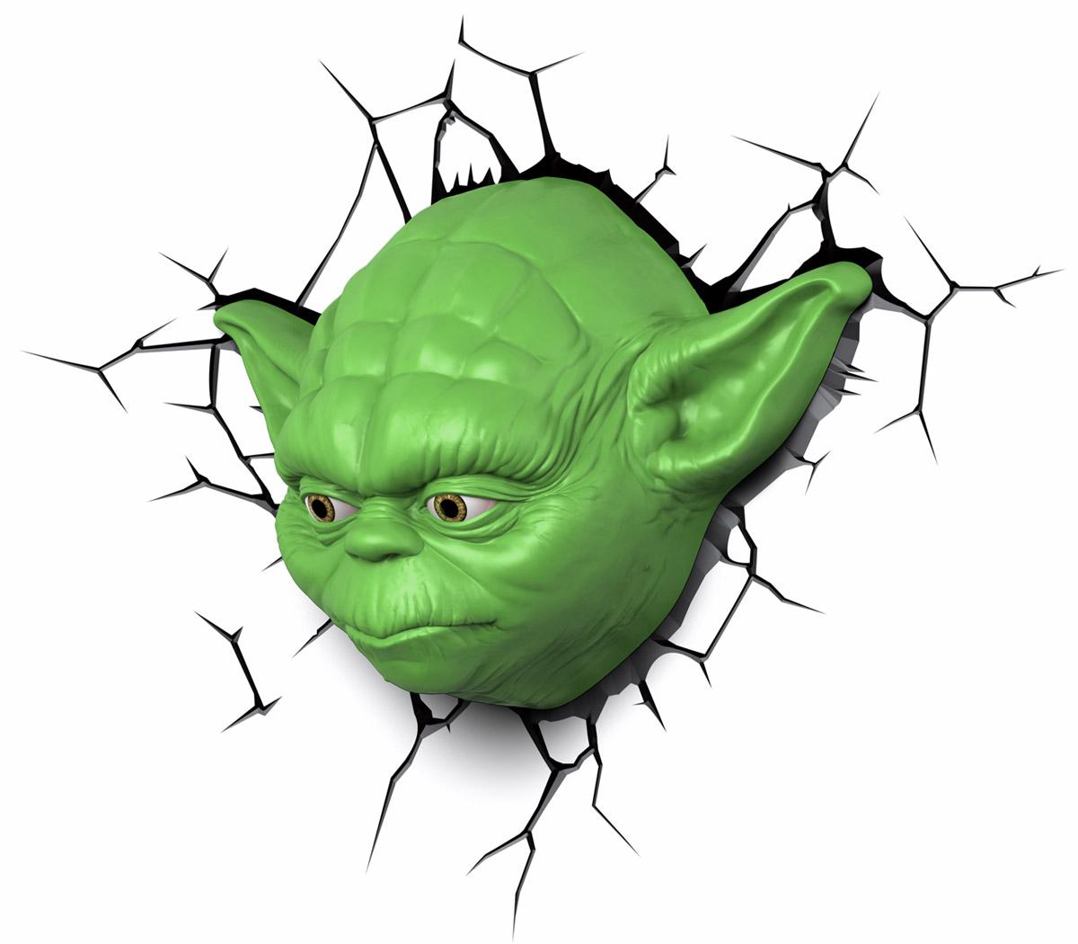 Star Wars Пробивной 3D светильник Йода50025Пробивной 3D светильник Star Wars Йода обязательно понравится вашему ребенку.Особенности: Безопасный: без проводов, работает от батареек (3хАА, не входят в комплект);Не нагревается: всегда можно дотронуться до изделия;Реалистичный: 3D наклейка-имитация трещины в комплекте;Фантастический: выглядит превосходно в любое время суток;Удобный: простая установка (автоматическое выключение через полчаса непрерывной работы).Товар предназначен для детей старше 3 лет. ВНИМАНИЕ! Содержит мелкие детали, использовать под непосредственным наблюдением взрослых.