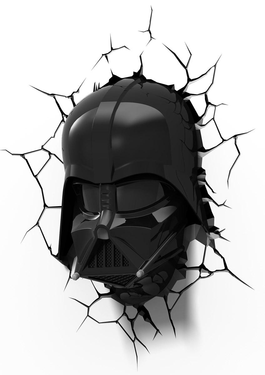 Star Wars Пробивной 3D светильник Маска Дарт Вейдер50026Пробивной 3D светильник Star Wars Маска Дарт Вейдер обязательно понравится вашему ребенку.Особенности: Безопасный: без проводов, работает от батареек (3хАА, не входят в комплект);Не нагревается: всегда можно дотронуться до изделия;Реалистичный: 3D наклейка-имитация трещины в комплекте;Фантастический: выглядит превосходно в любое время суток;Удобный: простая установка (автоматическое выключение через полчаса непрерывной работы).Товар предназначен для детей старше 3 лет. ВНИМАНИЕ! Содержит мелкие детали, использовать под непосредственным наблюдением взрослых.