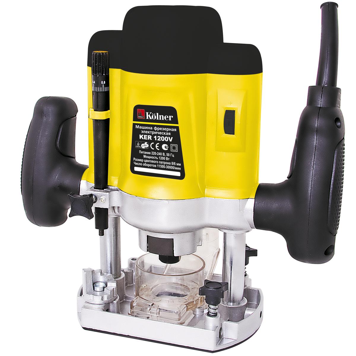 Машина фрезерная Kolner KER 1200V, электрическаякн1200верФрезерная машина Kolner KER 1200V предназначена для выполнения различных пазов и вырезов в древесных структурах и подобных нетвердых материалах.Линейка на корпусе фрезерной машины позволяет определить точную глубину фрезерования. Прочная литая опора из алюминия со специальным покрытием обеспечивает отличное скольжение заготовки и предотвращает появление царапин. Фрезерная машина имеет возможность подключения к пылесосу для чистоты обработки.