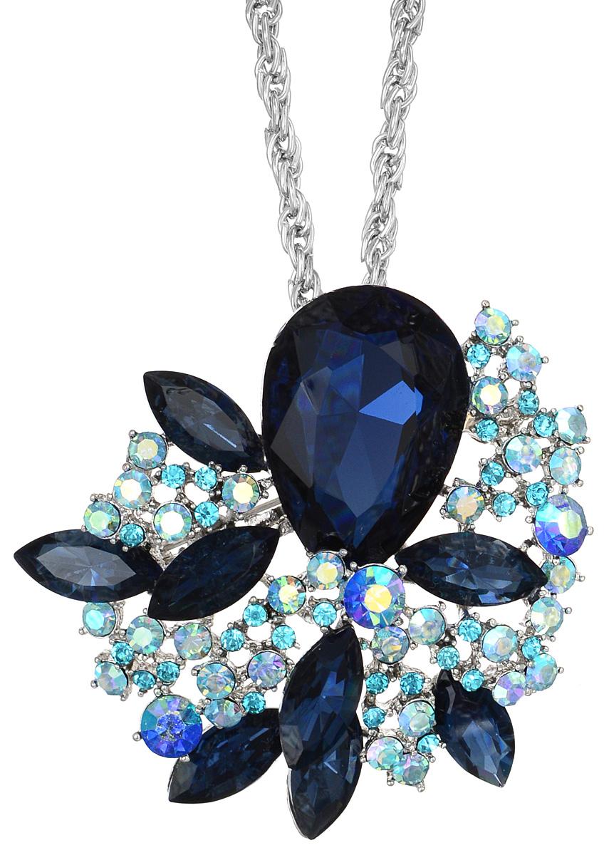 Кулон-брошь Taya, цвет: серебристый, синий, голубой. T-B-10927Брошь-кулонКулон-брошь Taya выполнен из металлического сплава и дополнен цепочкой с оригинальным плетением. Кулон инкрустирован крупным кристаллом каплевидной формы и сияющими стразами.Кулон оснащен петлей для подвешивания и застежкой-булавкой, что делает этот аксессуар универсальным. Цепочка застегивается на замок-карабин. Длина цепочки регулируется за счет дополнительных звеньев.Кулон-брошь Taya поможет дополнить любой образ и привнести в него завершающий штрих.