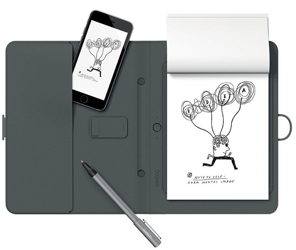 Wacom Bamboo Spark цифровой блокнот с карманом для гаджетов (CDS-600G)4949268619615Bamboo Spark - устройство, которое позволяет придумывать новые идеи и писать заметки на любом типе бумаги, автоматически оцифровывая написанное в реальном времени в специальном приложении для Android и iOS. Конвертация рукописного текста в цифровой предоставляет пользователям Bamboo Spark новый уникальный функционал: теперь они могут получать изящный каллиграфический текст в цифровом формате на основе рукописных заметок, сделанных с помощью специальной ручки-стилуса в умном блокноте, и хранить заметки в упорядоченном виде, чтобы отредактировать их позже или поделиться с другими.Создание стандартных текстовых файлов на основе рукописных заметок в Bamboo Spark осуществляется с помощью простого инструмента экспорт в текстовый формат, который встроен в приложение. Созданные заметки можно перевести в формат *.pdf или *.jpg. Кроме того, с помощью технологии WILL (Wacoms Ink Layer Language), в цифровой текст могут быть преобразованы и созданные ранее файлы, хранящиеся в Inkspace - облачном хранилище и системе обмена данными Wacom. Ваша бумажная записная книжка послужила вам верой и правдой. Не ограничивайте полет своей фантазии. Bamboo Spark представляет собой небольшой фолиант с шариковой ручкой, где предусмотрено место для вашей любимой бумаги. Он позволяет писать от руки и сохранять эти рукописные заметки локально или в облаке для дальнейшего редактирования, архивирования или просмотра. Нажмите кнопку. Все готово. Решение Bamboo Spark удобно в использовании и позволяет легко перенести бумажные заметки в цифровую среду.Когда вам в голову приходит замечательная идея, ее удобнее зафиксировать наиболее привычным образом: с помощью ручки и бумаги. Начните писать пером Bamboo Spark на своей бумаге, и фолиант сохранит каждый росчерк. Заметки мгновенно преобразуются из аналогового вида в цифровой, чтобы к ним можно было осуществить доступ с помощью приложения Bamboo Spark.Синхронизируйте позже. П
