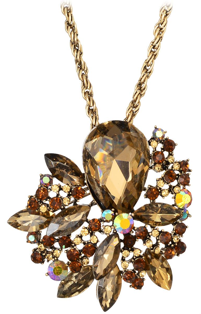 Кулон-брошь Taya, цвет: золотистый, коричневый. T-B-10925Брошь-инталияКулон-брошь Taya выполнен из металлического сплава и дополнен цепочкой с оригинальным плетением. Кулон инкрустирован крупным кристаллом каплевидной формы и сияющими стразами.Кулон оснащен петлей для подвешивания и застежкой-булавкой, что делает этот аксессуар универсальным. Цепочка застегивается на замок-карабин. Длина цепочки регулируется за счет дополнительных звеньев.Кулон-брошь Taya поможет дополнить любой образ и привнести в него завершающий штрих.